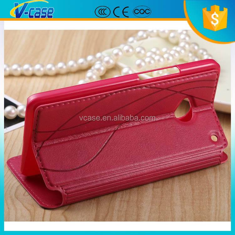 Luxury fashion flip leather case for htc one dual 802t/ 802d/ 802w