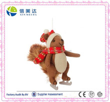 Stuffed Animal Squirrel On Ice Skates with a Red Scarf Christmas Figure Ornament