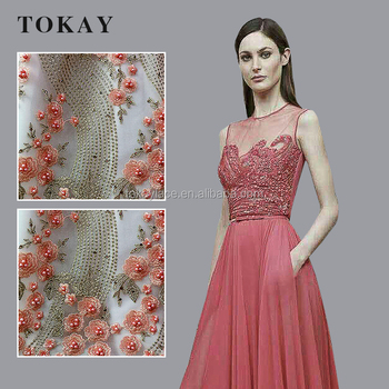 Wholesale colorful flower tulle fabric lace for party dress