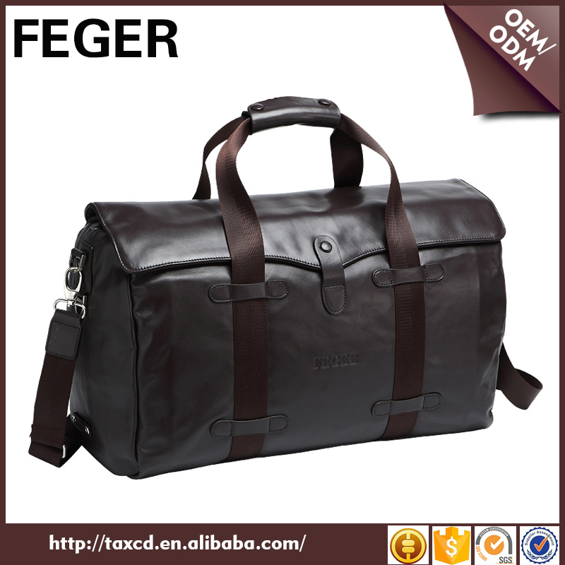 wholesale mens business leather duffle bag for travel trip