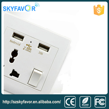 220V 230V outlets Smart electric 2 pin and 3 pin socket wall switch with USB receptacle Universal USB wall socket with usb port