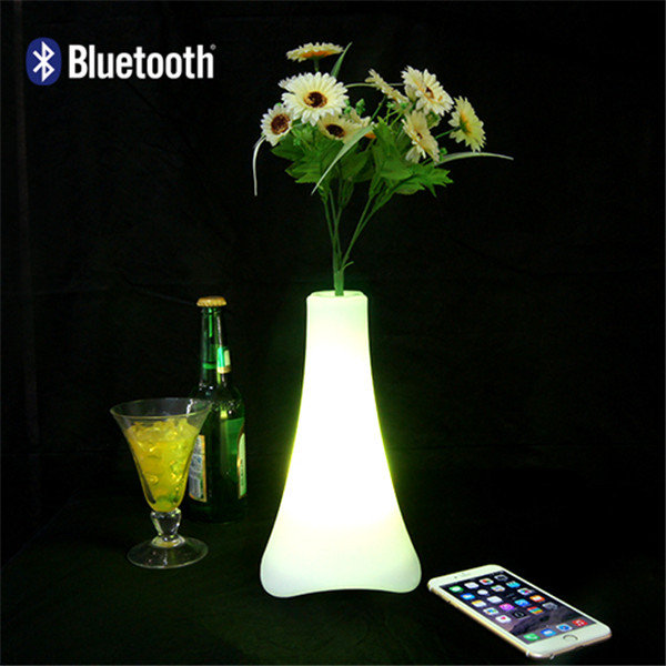 2015 professional rohs PE plastic waterproof wireless mini portable garden plant flower pot with led light bluetooth speaker