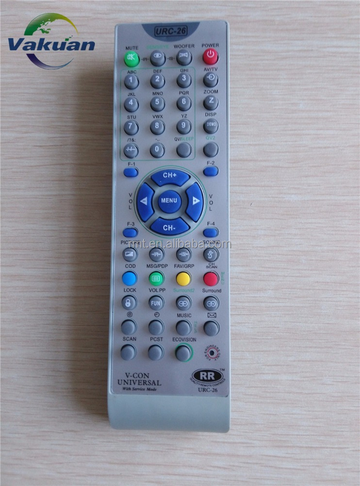 V-CON universal remote control URC26 for India market with service key
