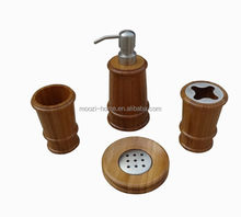 bamboo soap dispenser, wood bath set, bamboo mug and toothbrush holder