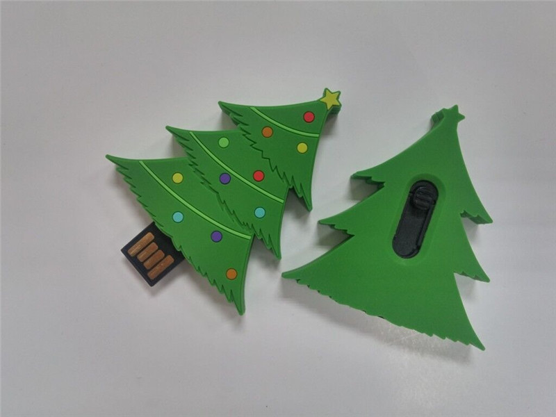 OEM Christmas Tree Shaped PVC Bulk 1gb USB Flash Memory 8GB Pen drive for gift