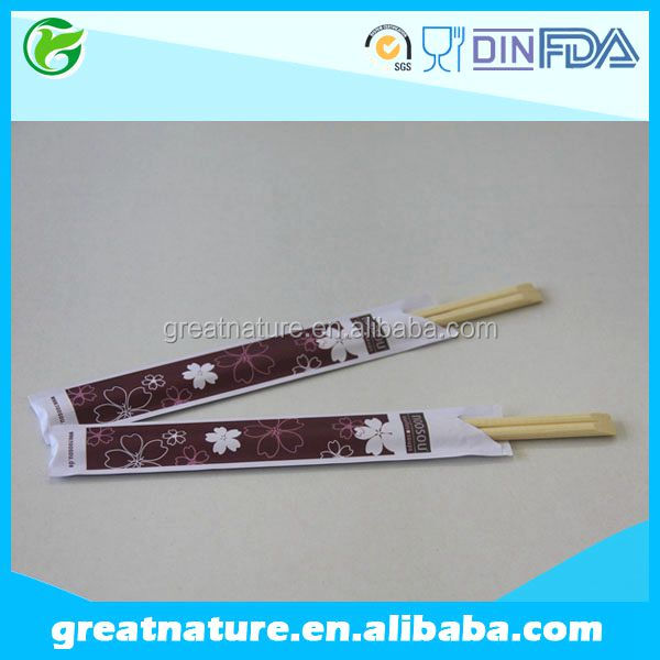 Cheap disposable bamboo chopstick with custom printed paper wrapper