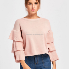 AL3057W New layered ruffle sleeve loose jumper long sleeve sweet lady clothing sweaters for women winter