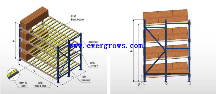 Evergrows High Density Inclined Front Efficiency Carton Flow Racks Supplier In China System