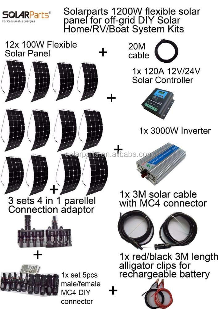 Solarparts 1200W off-grid Solar System <strong>KITS</strong> flexible solar panel +controller+inverter+cable+adaptor for RV/Marine/Camping/Home .
