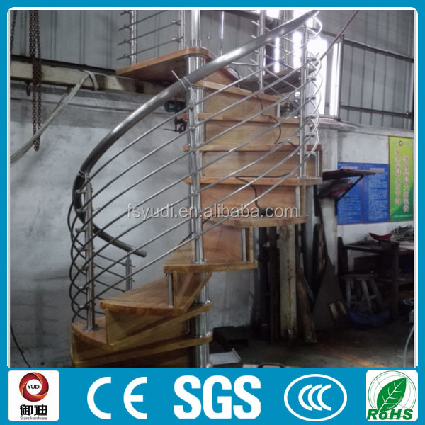 modern round oak stainless steel stairs , wood steel stairs---YUDI