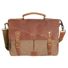 Vintage Canvas Leather Traveling Briefcase Shoulder Laptop Messenger Bag
