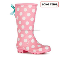 lace up rain boots pink color spot wellies for girls