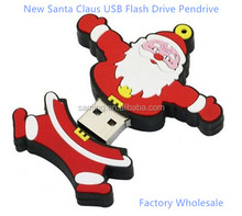 New style hot sale Santa Claus USB 2.0 christmas gift usb Flash Drive memory stick pendrive 1GB-64GB