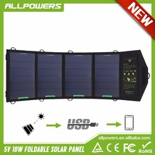 High Efficiency 18W Solar Charger for Cell Phone iphone ipad Air Mini Samsung Galaxy Note, Other Smartphones and Tablets
