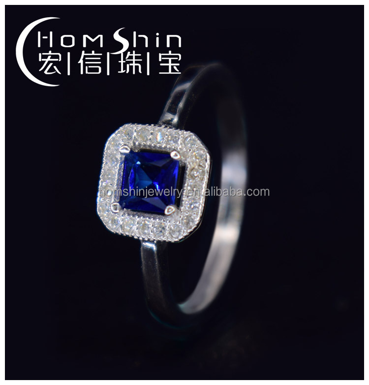 Sapphire stone 925 silver CZ ring