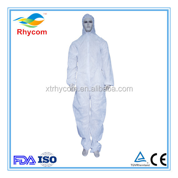 Medical Disposable PP non-woven coverall white coat insulated protective clothing dustproof gown