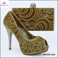 Top designer Gold color Beautiful Crystal High heel for elegant ladies wedding Shoes Good Quality Choice
