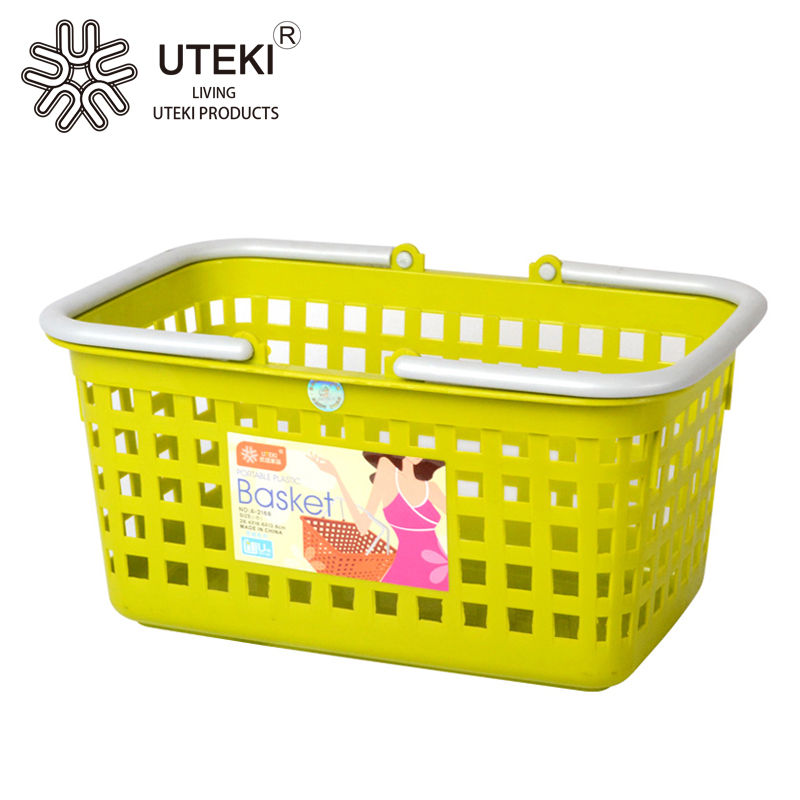 Household kitchen food fruit vegetable plastic storage basket with handle