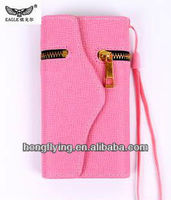 Pink Stylish Wallet leather zippered case with strap for Samsung Galaxy S4