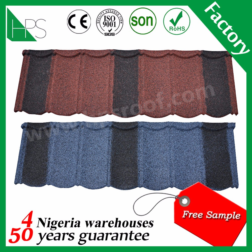 Africa hot sale roofing material stone coated metal roof tiles