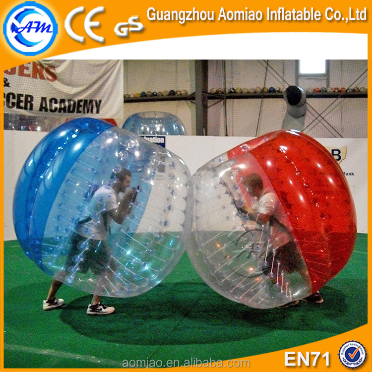 hot sell clear and red color 1.00 mm TPU high quality inflatable bubble football, bubble ball ,soccer bubble suit for adults