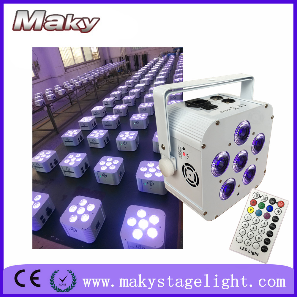 Hot selling wireless dmx battery powered 6*18w 6in1 quad color led flat par can light