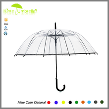 Magenta transparent POE material leaf design umbrella customs transparent umbrella