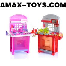 ht-238855A Toys kitchen set Kids emulational cupboard with all sorts of dinnerware and kitchenware