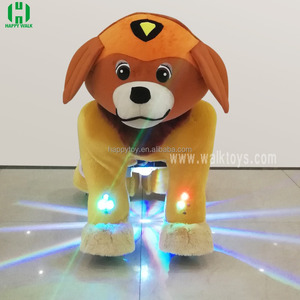 HI electric animal ride for shopping mall electric dog walking machine plush animal scooter with Spotlight