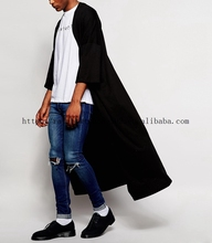 wholesale mens casual fashion black Super Longline jersey japanese kimono