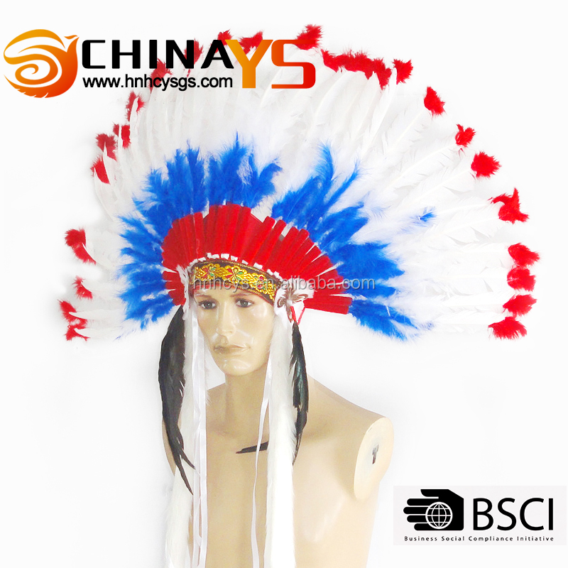 BSCI audit factory produce Hot selling red white Indian headdress carnival Thanksgiving on promotion