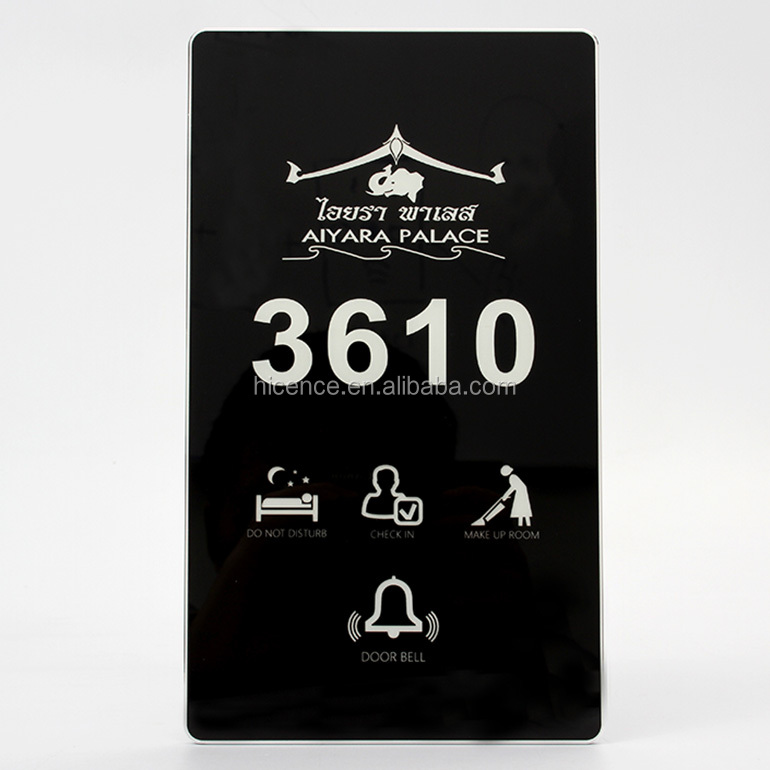 Super Thin Tempered Glass and Silver Frame Touch Screen Room Number DND MUR Bell Electronic Hotel Door Plate