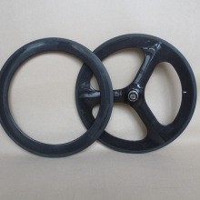 20'' 451mm carbon wheels Front 451 rim Rear tri-spoke wheels combo wheel 3K glossy
