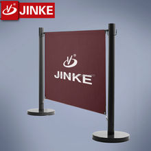 JINKE Manufacturer Steel China Factory Metal Cafe Stanchion Post / Queue Barrier Pole / Outdoor Advertising Banner