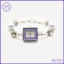 2014 newest promotional ladies silver chain bracelet watch