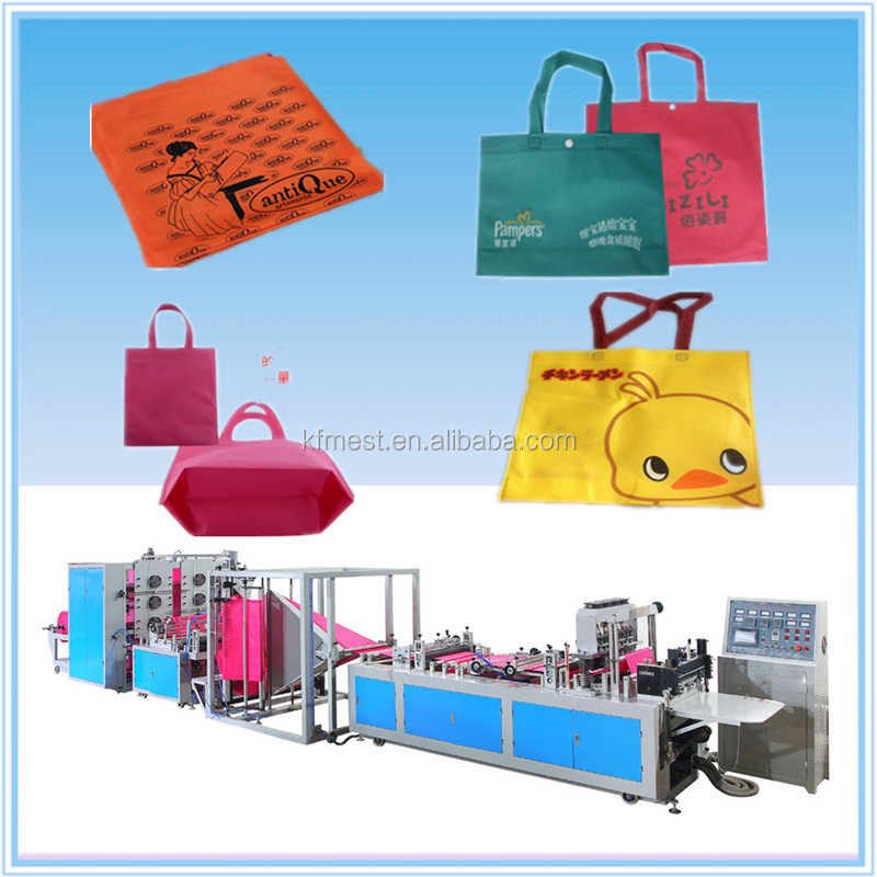 2017 Top Quality PP Non-woven Fabric Gift Bag Box Bag Making Machine with Online Handle Attaching Price