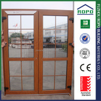 Made in China PVC wood color french door with insect screen