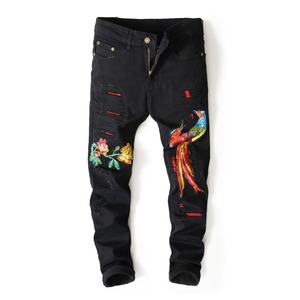 OEM Branded men motorcycle new style ripped jeans distressed pencil denim trousers pants