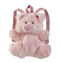 Fluffy pink pig plush backpack