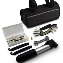 Mini bike repair tool kit with pump Mini bicycle repair tool kit with pump 16 in 1 Bicycle Essential Multi tools Set(black)