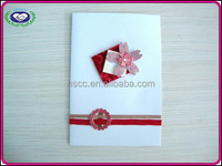 2015 white paper color flower decoration royal wedding invitation card