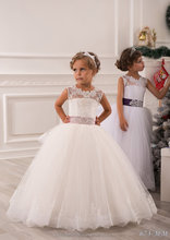 Latest Children Frocks Lace Long A Line Flower Girl Dresses Birthday Pattern Kids Party Dress LF21F