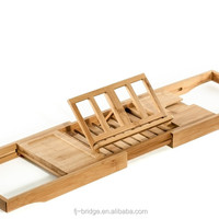 Natural Bamboo Bathtub Caddy Tray Organizer