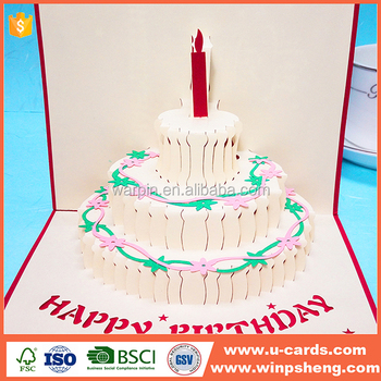 Laser cut handmade 3D birthday cake and candles design greeting card