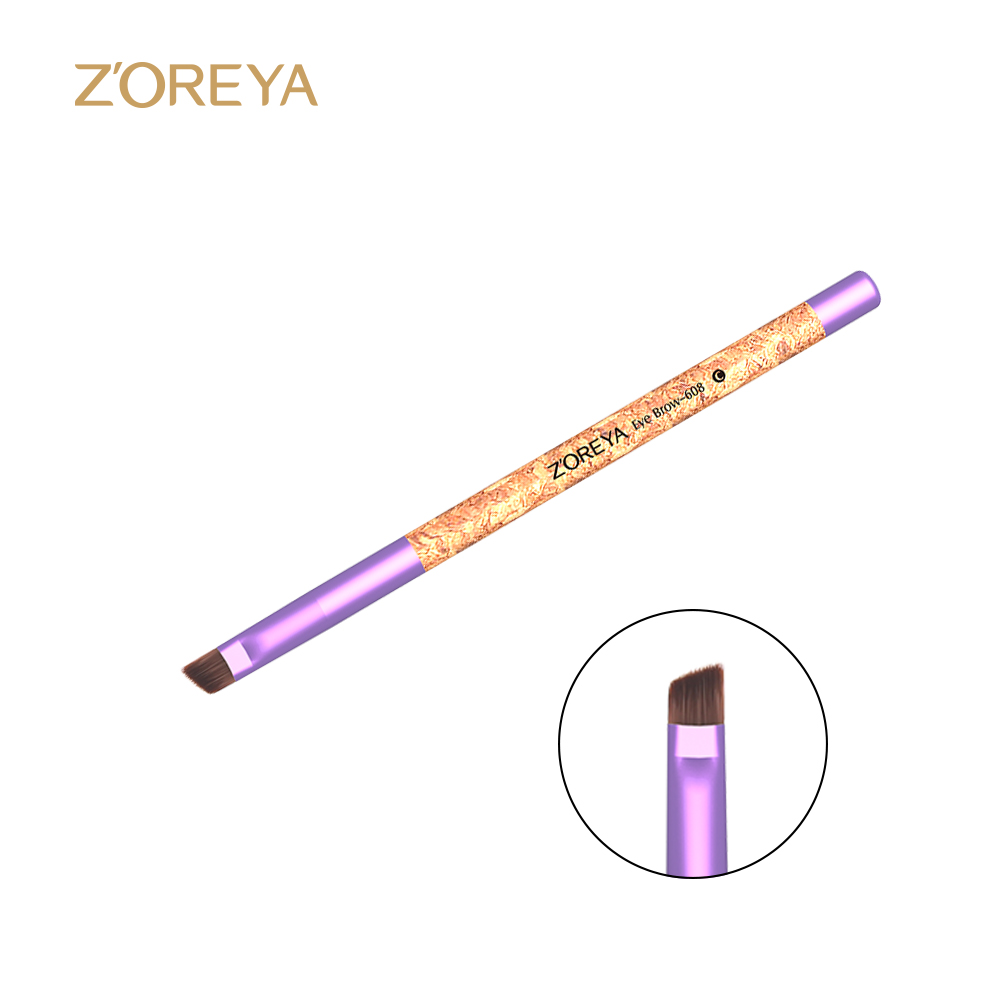 Hot sale custom cork synthetic nylon hair pink eye brow makeup brush