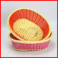 100% woven plastic rattan wicker eco bread basket wicker basket