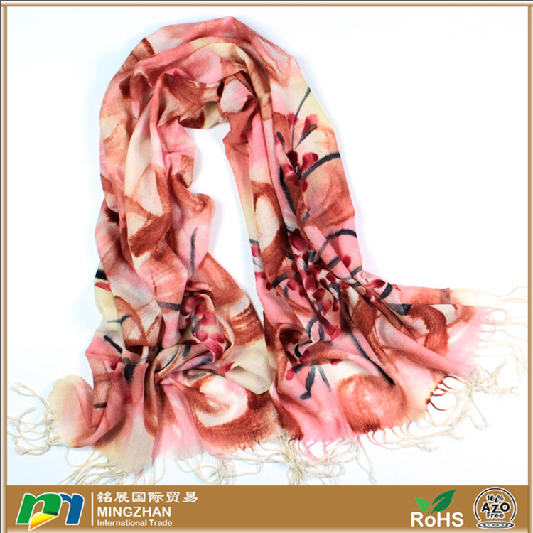 Soft warm 100% merino wool hand painted cymbidium floral print tassel thick look women shawls scarves
