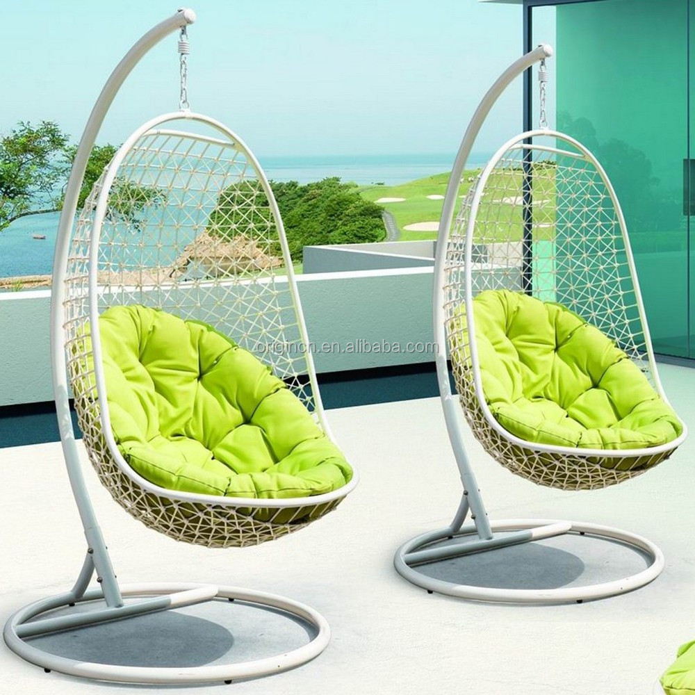 L shape rattan hanging hammock with grid back green round for T shaped swing set
