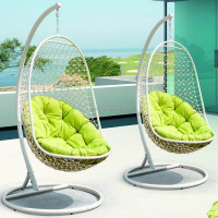 L shape rattan hanging hammock with grid back green round cushion bird nest chair ORW-1007C