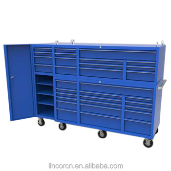 "72"" Lincor Cheap Metal Storage Cabinet Type Stainless Steel Top Tool Chest with 17 Drawers"